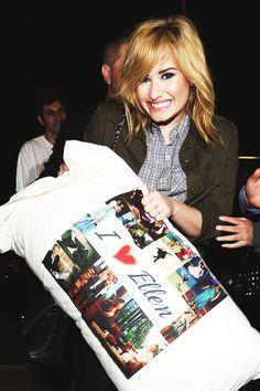"Me too Demi..me too. Ellen gave Demi a ""SPECAIL"" pillow"