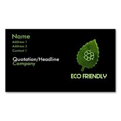Eco Friendly Business Card. This is a fully customizable business card and available on several paper types for your needs. You can upload your own image or use the image as is. Just click this template to get started!