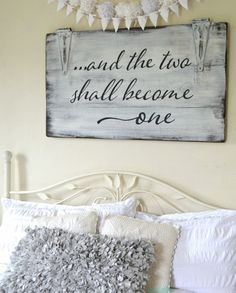 """And the two shall become one"" Wood Sign {customizable} Aimee Weaver Designs, LLC has personalized, custom, hand painted reclaimed barn wood signs and home decor ideas. Diy Home Decor Bedroom For Teens, Bedroom Decor, Wall Decor, Bedroom Wall, Bedroom Ideas, Pallet Crafts, Wood Crafts, Diy Pallet, Diy Crafts"