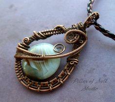 Copper wire wrapped pendant by PillarOfSaltStudio