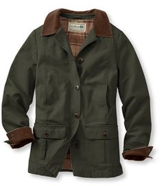 Adirondack Barn Coat, Flannel-Lined: Casual Jackets | Free Shipping at L.L.Bean. I've had this coat for years and love it - great for fall days and perfect when layered with a warm sweater and boots. Comes in other colors, but I would do the green for you.