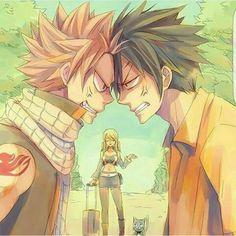 Natsu, Gray, rivals, funny, Lucy, Happy; Fairy Tail