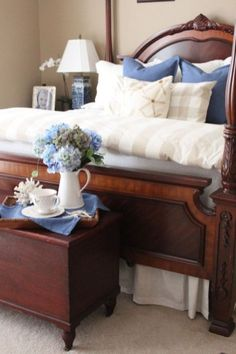 Blue and White Master Bedroom – Starfish Cottage White and Blue Master Bedroom White Bedroom Furniture, Home Decor Bedroom, Bedroom Ideas, Furniture Decor, Furniture Design, 50s Bedroom, Bedroom Retreat, Interior Livingroom, Furniture Removal
