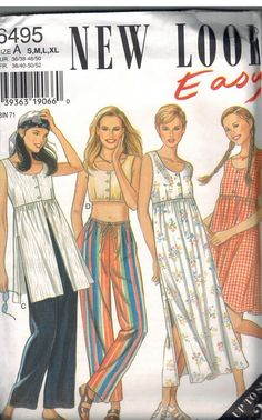 6495 UNCUT New Look Sewing Pattern Misses Dress Tunic Top Pants Easy S - XL OOP #Newlook