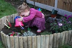 I love this idea of creating a defined, low walled garden especially for a toddler. It also includes fragrant herbs, mudpie making tools and a little fairy garden. Magical!