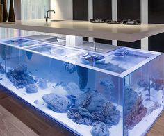Bring the majesty of the ocean into your culinary domain with this one of a kind aquarium kitchen.The ambitious design provides ample storage space as the aquariumenthralls the senses with its magnificent underwater ecosystem.