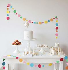 A Sprinkle & Confetti Birthday Party from Sweet Style - A Sprinkle & Confetti B. - A Sprinkle & Confetti Birthday Party from Sweet Style – A Sprinkle & Confetti Birthday Party fro - White Dessert Tables, White Desserts, Sweet Style, Simple Birthday Decorations, Kids Party Decorations, Party Ideas, Celebration Background, Party Background, Baby Sprinkle