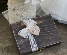 Wedding Ring Pillow, Ring Bearer Box, We Do Box, Personalized Bride & Groom Initials, Rustic Wedding. $31.50, via Etsy.