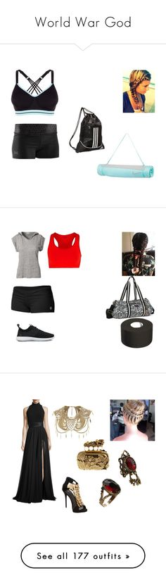 """""""World War God"""" by gracewoods ❤ liked on Polyvore featuring Under Armour, NIKE, adidas, Filippa K Soft Sport, Falke, Sakroots, Theia, Giuseppe Zanotti, River Island and Lucky Brand"""