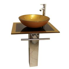 Shop Kokols USA Mustard Gold Vessel Single Sink Bathroom Vanity with Tempered Glass and Glass Top (Faucet Included) (Common: 24-in x 18-in; Actual: 23.5-in x 18-in) at Lowes.com