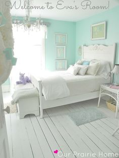 Oh my goodness I love this room! DIY:Forty Dollar Shabby Chic Room Makeover I love everything! Wall color painted wood floors chandelier and white furniture pretty pretty room Painted Wood Floors, Painted Wicker, Wood Walls, Little Girl Rooms, Room Girls, Paint For Girls Room, Girls Bedroom Blue, Tiffany Blue Bedroom, Pink Bedrooms