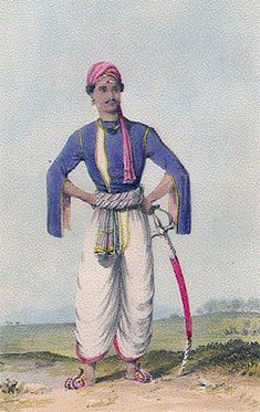 An Indian sepoy in native clothing