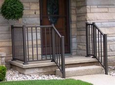 Image result for cement porch with steps and railings