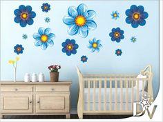 #kék #babaszoba #dekoráció #virág #falmatrica #nekedislehetilyen