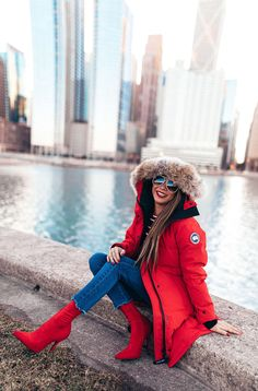 The best splurge worthy coats for the midwest or east coast girls with style steals that are availble for the look for less. Parka Outfit, Red Coat Outfit, Winter Outfit For Teen Girls, Winter Outfits For Work, Summer Outfits, Outfit Winter, Winter Clothes, Canada Goose Women, Canada Goose Coats