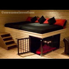 Oh I love this! A place for the dog! And stairs to come up on the bed!