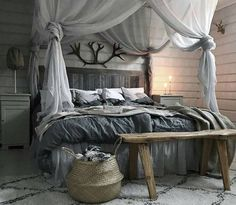 Elegantly decorate your bedroom area in a romantic way by opting this incredible rustic decor idea shown below in the image. This place seems adorable to spend your peaceful sleeping time. The lovely … – Rustic Beds – Home Decor Ideas Rustic Bedroom Design, Rustic Bedroom Furniture, Rustic Bedding, Rustic Design, Home Decor Bedroom, Rustic Decor, Bedroom Ideas, Rustic Romantic Bedroom, Rustic Elegance Decor