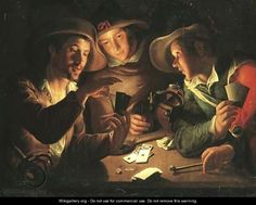 Soldiers playing cards by candlelight - Peter Wtewael, Dutch Painter-Engraver  b. 1596.