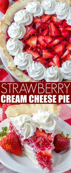 Strawberry Cream Cheese Pie Fresh, creamy and delicious this Strawberry Cream Cheese Pie is a flavorful mixture of strawberries and cheesecake all rolled into one! via Tornadough Alli Mini Desserts, Strawberry Desserts, Summer Desserts, Easy Desserts, Delicious Desserts, Dessert Recipes, Yummy Food, Strawberry Cheesecake, Recipes For Strawberries
