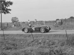 Phil Hill at the wheel of XKC 007 en route to victory at Elkhart Lake in September of the first race win for a C-Type in the United States. Sports Car Racing, Race Cars, Jaguar, Elkhart Lake, Antique Cars, New York, United States, Type, September