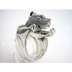 925 Sterling Silver Pitbull Dog Ring__cost WAAAAAAY too much though!!