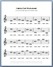 Music theory worksheet for learning treble clef notes. Can print for free!
