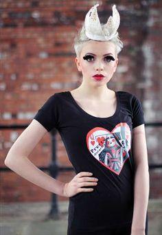 Pretty Disturbia heart Punk Grunge card print  T-shirt top from Pretty Disturbia