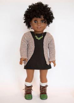 American Girl Doll cardigan sweater - brown by EverydayDollwear on Etsy