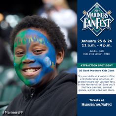 Get your face painted in the US Bank #Mariners Kids Zone. #MarinersFF