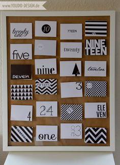 "DIY - Adventskalender ""Black and White"" - Freebie www.youdid-design.de"