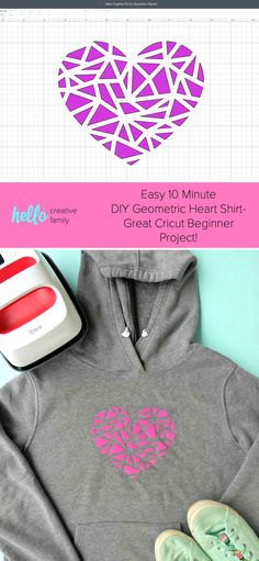 Looking for an easy Cricut beginner project? This 10 minute DIY geometric heart shirt is so cute and simple to make. A perfect first Cricut project or first htv project for those new to the Cricut world! Includes step by step photos and instructions as well as a cut file. #DIY #Cricut #CricutMade #handmade #heart
