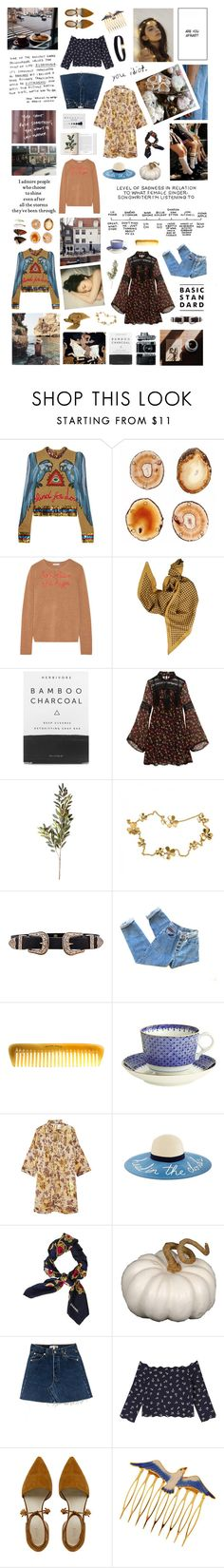 """""""Said he's on his own, but his own is you"""" by bitofbritt ❤ liked on Polyvore featuring Gucci, RabLabs, Lingua Franca, Golden Goose, Herbivore, Anna Sui, OKA, Van Cleef & Arpels, B-Low the Belt and Hermès"""