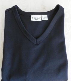 GUESS-JEANS-pullover-SWEATER-mens-2XL-solid-NAVY-BLUE-V-Neck-Polyester-Blend