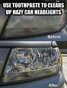 Cleaning headlights with toothpaste