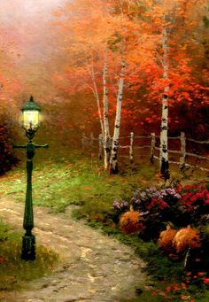 herbst backen Thomas Kinkade Autumn Thomas Kinkade a bno Autumn Painting, Autumn Art, Fall Pictures, Pretty Pictures, Beautiful Paintings, Beautiful Landscapes, Thomas Kinkade Art, Kinkade Paintings, Thomas Kincaid