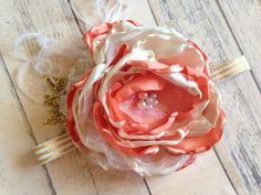 Peach gold and ivory satin and lace headband  by ClairebowBaby, $17.00