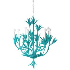 Stray Dog Designs Serena Chandelier Bahaman Sea Blue By ($1,200) ❤ liked on Polyvore featuring home, lighting, ceiling lights, lights, chandeliers, handmade lights, stray dog designs and handmade lamps