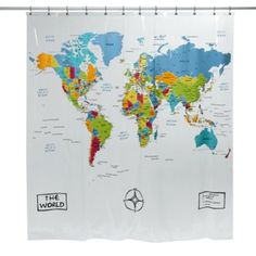 Life Hack: Brush up on your geography by having a world map shower curtain. All the time spent in the bathroom will increase your geographical knowledge.