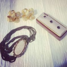 Some vintage pieces: necklace, earrings, and shirt studs.