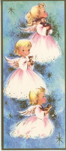 VINTAGE GIRL ANGELS PINK DRESS BUNNY RABBIT MOUSE BIRD CHRISTMAS GREETING PRINT
