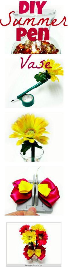 Love this DIY Summer Pen Vase. Time to freshen up my office desk! http://bowdabrablog.com/2012/06/12/summertime-decor-summer-vase-with-flower-pens/