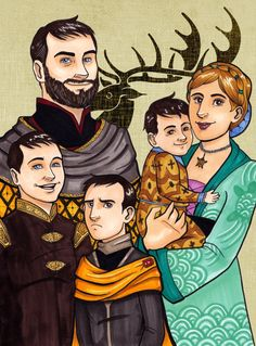 """misslupotter: """"I finished my Baratheon family portrait! Ours Is The Fury by *lubyelfears A note on colouring: • I've given Renly and Stannis brown eyes to reflect their appearence in the Game of Thrones TV series. • Cassana's hair colour was inspired..."""