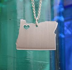 Portland Oregon Love Pendant on 18inch Sterling Silver Chain--wish it had a different chain