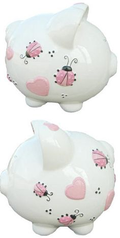 This large ceramic piggy bank, with fun, colorful hand painted designs can be personalized with a child's first name. We engrave the name, and then hand paint it for a beautiful, lasting, personalized piggy bank. Piggy is decorated with pink hearts and ladybugs for a sweet little girl's gift. The bank has a wide slot in the top of the bank and a rubber stopper on the bottom for easy removal of coins. Many more designs are available. Dimensions: 7 1/2 in. h x 8 in. l x 7 in.  $26