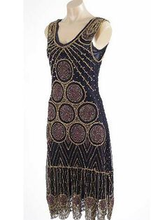 Roaring 20s Reproduction Black Gold Beaded Flapper Dress