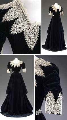 "Dinner gown, Redfern, London, circa 1909. Black silk velvet trimmed with chemical lace in the Van Dyck manner. Long self-fabric flounces run the length of the skirt. Slight train. Victoria & Albert Museum: ""The higher neckline and longer ruched sleeves distinguish this from sleeveless low-cut ball gowns. The intentionally historical appearance of the gown suggests it may have been made for fancy dress."""