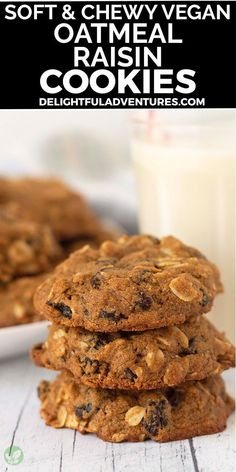 Quick and easy vegan oatmeal raisin cookies made with oat flour! These cookies turn out soft, chewy, and irresistible, plus, since they're vegan, they're eggless, dairy-free…gluten-free, too! They're simple to make and you can have them ready to enjoy in under 30-minutes. Vegan Oatmeal Raisin Cookies, Easy Vegan Cookies, Vegan Gluten Free Desserts, Vegan Chocolate Chip Cookies, Gluten Free Recipes For Breakfast, Vegan Dessert Recipes, Vegan Treats, Vegan Recipes Easy, Vegan Food