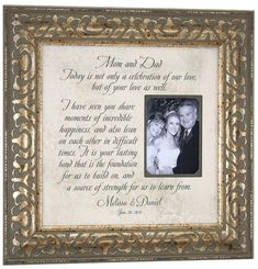 The To My Parents Personalized Wedding Frame Is Very Beautiful And Touching It Comes In 1 Of 3 Colors Its Only 2895 This A Great Tha