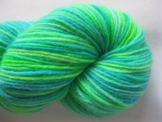 Great Barrier Reef - Hand Dyed Sock Yarn in bright neon green, aqua - fingering weight, superwash wool & polyamide - 460 yards