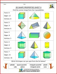printable 3d shapes worksheets properties 6 - faces edges and vertices